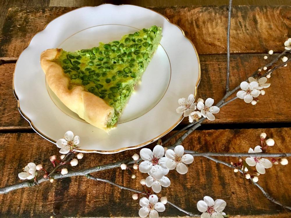 Torta salata con piselli e mascarpone. Ricetta di Primavera