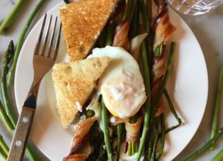 In Season. Poached Egg and Baked Asparagus With Bacon