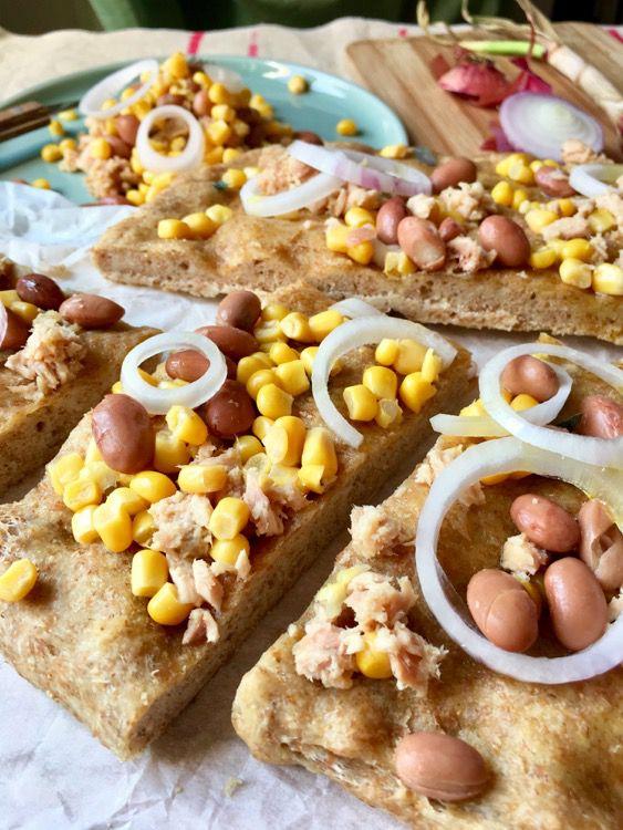 Olive Oil Whole Focaccia with Tuna, Borlotti, Onion and Corn