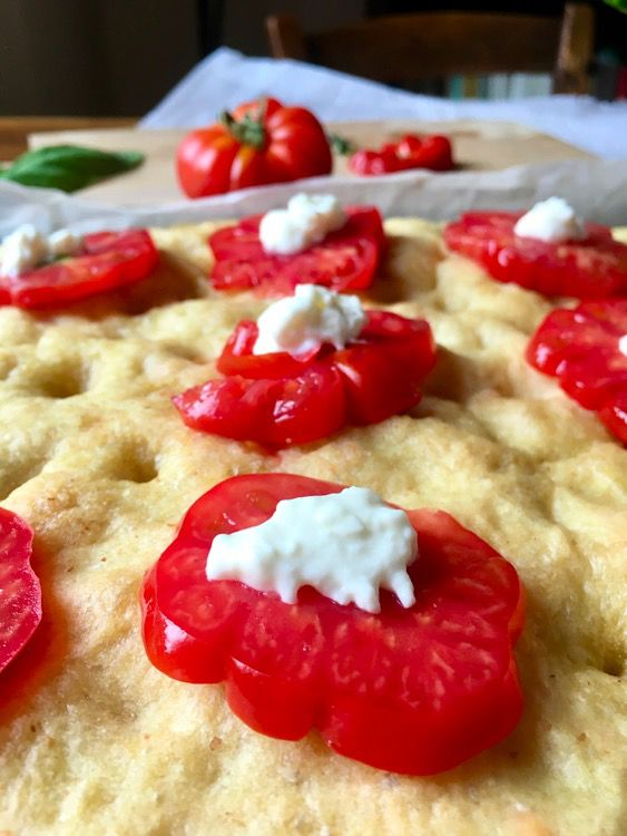 Summer Focaccia with Tomatoes, Burrata Cheese and Basil