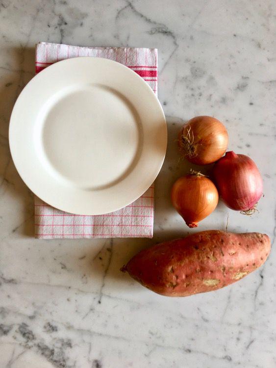 Sformatini di patate dolci arancioni, cipolla e parmigiano reggiano