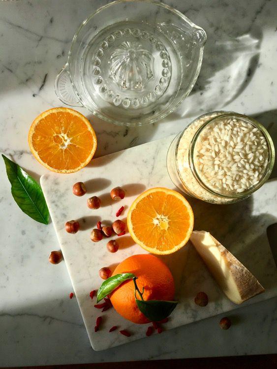Risotto taleggio, bacche di goji, nocciole, scorza d'arance candite