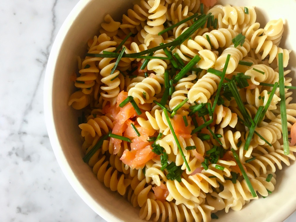 Salmon cold pasta