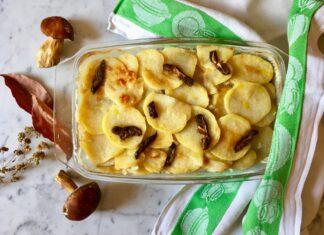 Teglia di riso, funghi, patate e comfort food