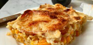 Lasagne con zucca, scalogno, provola per scaldare l'inverno