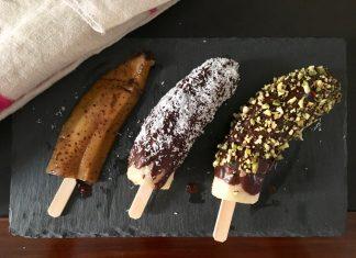Ricetta della frutta gelato su stecco, banana e cioccolato